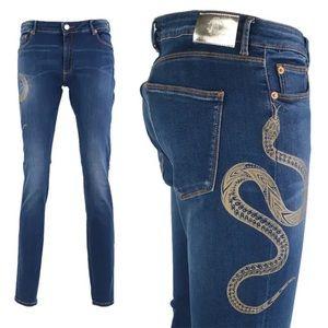 Robert Cavalli Snake Graphic Skinny Jean Dark Blue